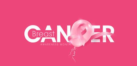Breast cancer october awareness month pink balloons banner background,vector illustration  イラスト・ベクター素材