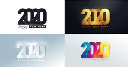 2020 Happy New Year background. 2020 number text design.Vector holiday illustration. Zdjęcie Seryjne - 130991614