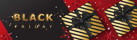Black friday sale banner template with Christmas decorative elements present box.background. Vector illustration Archivio Fotografico - 130991595