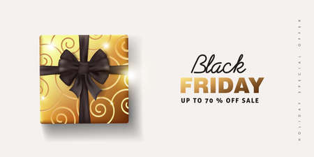 Black friday sale banner background template with Christmas Bow. Vector illustration Illusztráció