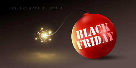 Black friday sale banner background template with red bomb. Vector illustration
