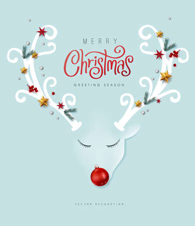 Merry Christmas vector text Calligraphic Lettering and deer paper art minimal Vector illustration.