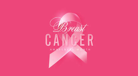 Cancer du sein octobre sensibilisation mois ruban rose bannière fond, illustration vectorielle