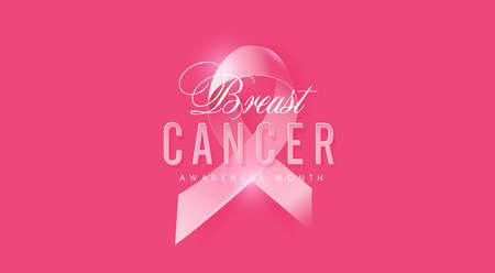 Rak piersi październikowy miesiąc świadomości różowa wstążka transparent tło, ilustracja wektorowa