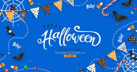 Halloween Decorative Border made of Festive Elements Background and Halloween text Calligraphic Lettering Vector illustration. Illustration
