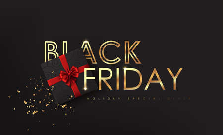 Black Friday. Calligraphic lettering Black Friday with golden texture and Christmas decorative elements present box. Advertising Poster design. Vector illustration.