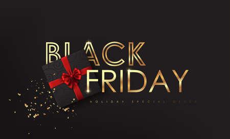 Venerdì nero. Scritta calligrafica Black Friday con trama dorata e scatola regalo con elementi decorativi natalizi. Progettazione di manifesti pubblicitari. Illustrazione vettoriale.