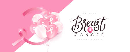 Breast cancer october awareness month pink ribbon banner background, Realistic balloons vector illustration