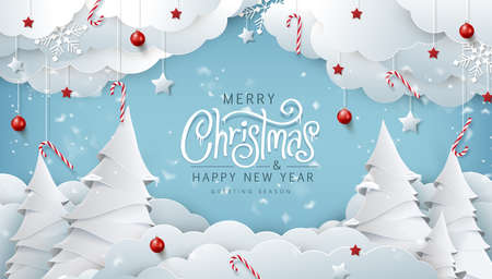Winter christmas composition in paper cut style.Merry Christmas text Calligraphic Lettering Vector illustration.  Illusztráció