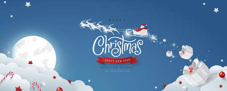 Winter christmas composition in paper cut style.Merry Christmas text Calligraphic Lettering and Santa Claus on the sky Vector illustration.  Vectores