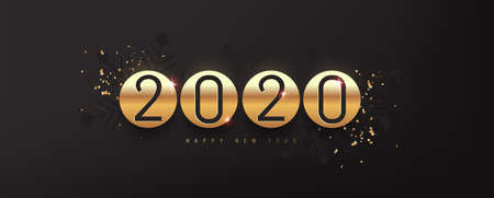 2020 Happy New Year background. 2020 number text gold texture design. Vector holiday illustration.