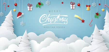 Winter christmas composition in paper cut style.Merry Christmas text Calligraphic Lettering Vector illustration.  Illustration