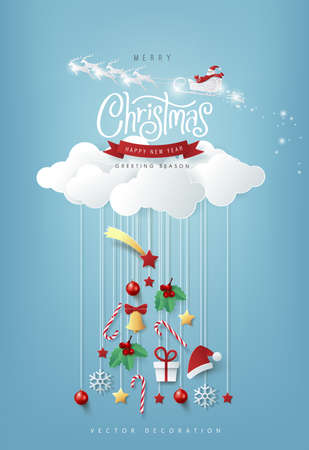 Winter christmas composition in paper cut style.Merry Christmas text Calligraphic Lettering Vector illustration.  Vectores