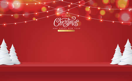 Christmas red shelf on the wall for display and Glowing lights. Merry Christmas text Calligraphic Lettering Vector illustration.