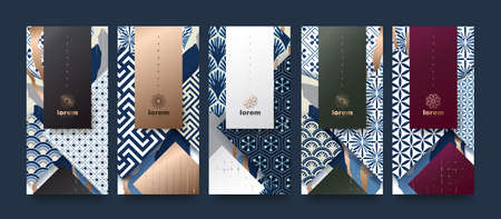 Vector set packaging templates japanese of nature luxury or premium products.design with trendy linear style.voucher, flyer, brochure.Menu book cover japan style vector illustration. Çizim