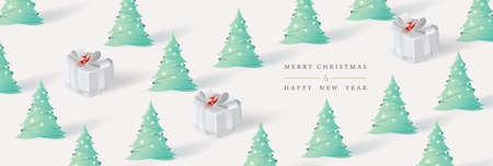 Buon Natale e Felice Anno nuovo. Sfondo di Natale con albero di Natale e scatola regalo in stile arte cartacea. Illustrazione vettoriale.