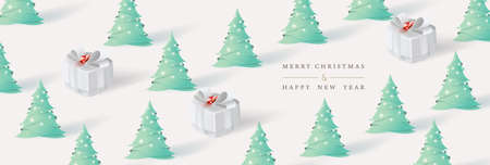 Frohe Weihnachten und ein glückliches Neues Jahr. Weihnachtshintergrund mit Weihnachtsbaum und Geschenkboxpapierkunstart. Vektor-Illustration.