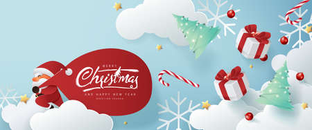 Santa Claus with a huge bag on the run to delivery christmas gifts on white cloud background.Merry Christmas text Calligraphic Lettering Vector illustration.  일러스트