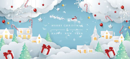 Merry christmas composition in paper cut style.Santa Claus on the sky Vector illustration.