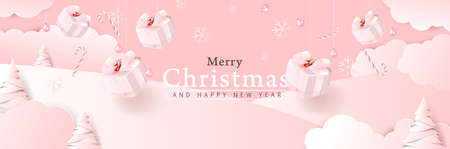 Merry christmas background composition in paper cut style color of pink. Vector illustration. Illustration