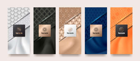 Vector set packaging templates japanese of nature luxury or premium products.logo design with trendy linear style.voucher, flyer, brochure.Menu book cover japan style vector illustration.