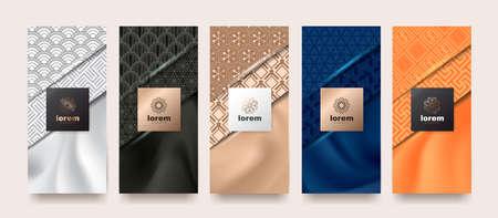 Vektor-Set Verpackungsvorlagen japanisch Natur Luxus oder Premium-Produkte.Logo-Design mit trendigen linearen Stil.Gutschein, Flyer, Broschüre.Menü Bucheinband Japan-Stil-Vektor-Illustration.