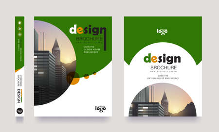 Green poster flyer pamphlet brochure cover design layout space for photo background, vector template in A4 size Banque d'images - 138244090