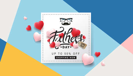 Happy Fathers Day Sale 50% off banner backgroung.Promotion and shopping template.Vector illustration.