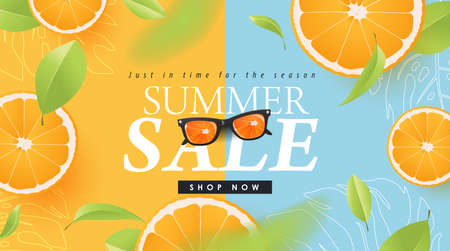 Summer sale design with orange tropical abstract background layout banners .Vector illustration template.