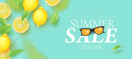 Summer sale design with lemon tropical abstract background layout banners .Vector illustration template.