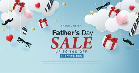 Happy Fathers Day Sale banner backgroung.Promotion and shopping template.Vector illustration.