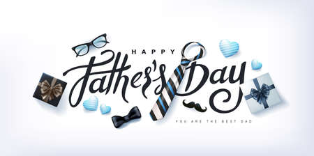 Happy Fathers Day banner background.Promotion and shopping template.Happy Fathers Day calligraphy. Stock Illustratie