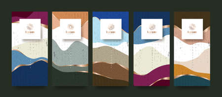 vector set packaging abstract arts background templates.Line pattern in Asian style with Japanese pattern.