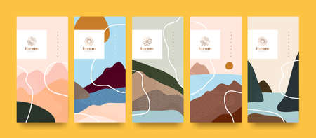 vector set packaging landscape abstract arts background templates.Line pattern in Asian style with Japanese pattern. Stock Illustratie