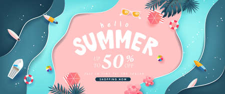 Summer sale design with paper cut tropical beach bright Color background layout banners template.Paper art concept. Stock Illustratie