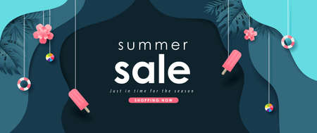 Summer sale design with paper cut elements summer on dark blue background layout banners template.Paper art concept.