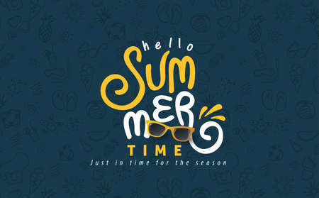 Brush lettering composition of Summer Vacation isolated on dark background.