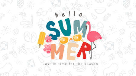 Summer colorful text banner design with beach accessories on white background.Hand drawn elements set for summer holiday.