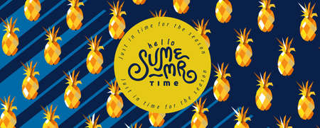 Summer banner design with Pattern pineapple retro style on blue background.Calligraphy summer holiday.