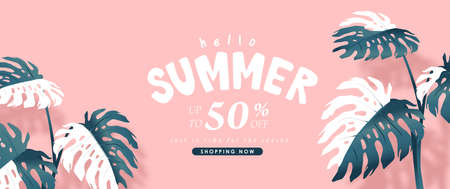 Summer sale design with monstera leaves decorating bright Color background layout banners template.