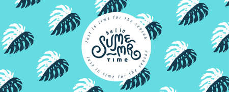Summer banner design with Pattern monstera leaves decorating retro style on blue background.Calligraphy summer holiday. Stock Illustratie