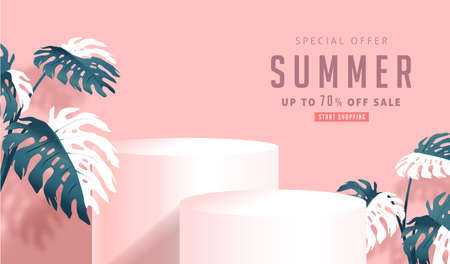 Summer sale design with product display cylindrical shape and monstera leaves decorating bright Color background.