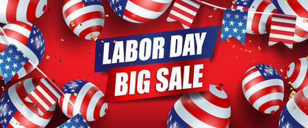 Labor day sale promotion advertising banner template decor with American flag balloons and american flags Garlands decor.