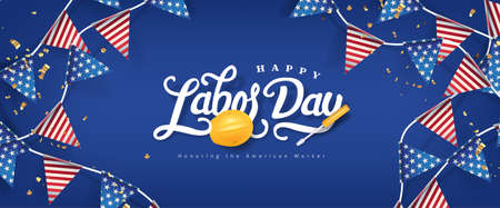 Labor day banner template decor with american flags Garlands decor.Calligraphy of Labor day.