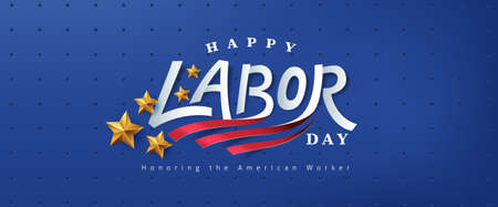 USA happy Labor day text design advertising banner template Stock Illustratie