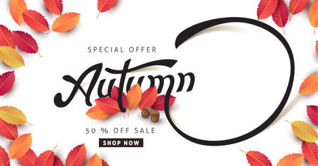 Autumn calligraphy poster banner background and copy-space for text