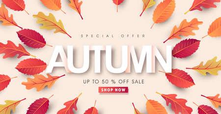 Autumn calligraphy. Seasonal lettering.autumn sale banner background.