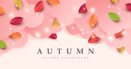 Autumn banner background with autumn leaf on cloud Stock Illustratie