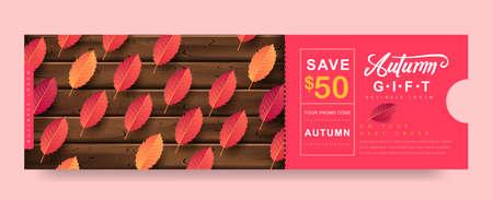 Autumn Gift promotion Coupon banner background. Elegant Autumn Voucher Design. Stock Illustratie