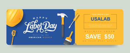 USA Labor day Gift promotion Coupon banner background. Elegant Labor day Voucher Design.